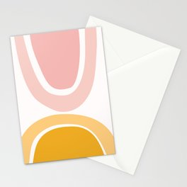 Abstract Shapes 17 in Mustard Yellow and Pale Pink Stationery Cards