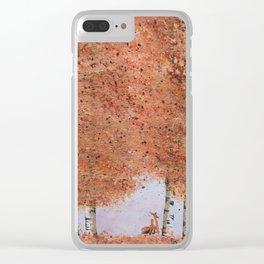 Autumn Birch Fox Clear iPhone Case