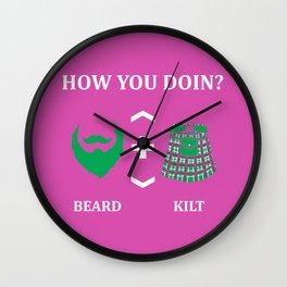 Beard Kilt Lover Scotish Bagpipe Gift Wall Clock