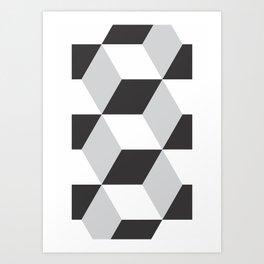 Cubism Black and White Art Print