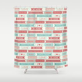 Romantic coral ivory green love valentine's typography Shower Curtain