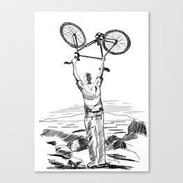Bike Contemplation - light background Canvas Print