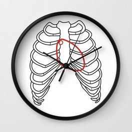 Red heart and ribs Wall Clock