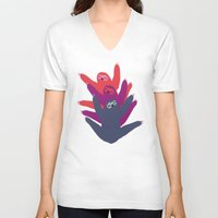 sloths V-neck T-shirts featuring Color sloths by Darish