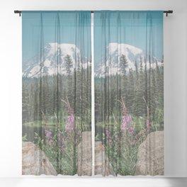 Mount Rainier Wildflower Adventure V - Pacific Northwest Mountain Forest Wanderlust Sheer Curtain