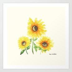 Watercolor Sunflowers Art Print