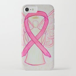 Pink Breast Cancer Awareness Ribbon Angel Art Painting iPhone Case