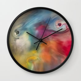 Colored watercolor abstraction painting Wall Clock