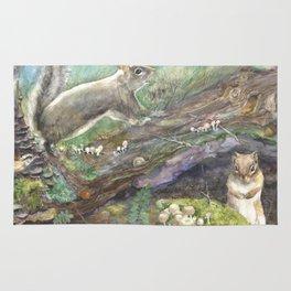 squirrels, aqua Rug