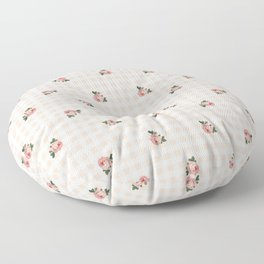 Pepita check and rose seamless pattern Floor Pillow
