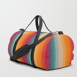 Retro Rainbow Striped Pattern Duffle Bag