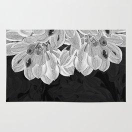 Elegant Black and White Flowers Design Rug