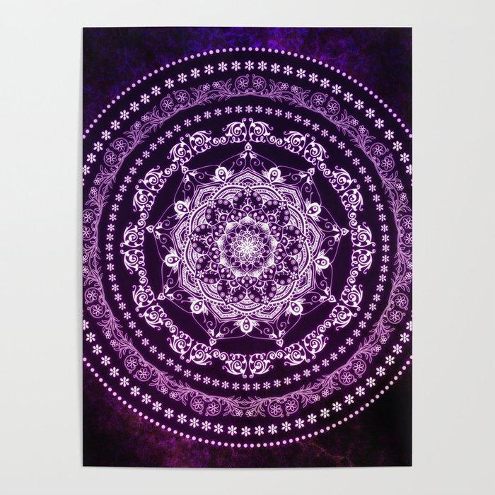 Purple Glowing Soul Mandala Poster