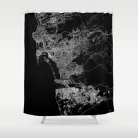 san diego Shower Curtains featuring san diego map by Line Line Lines