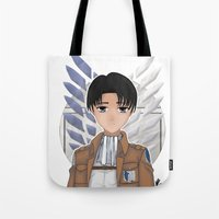 levi Tote Bags featuring Levi Rivaille by Larkee Beatz