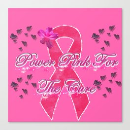 Power Pink for the Cure - Butterfly Blitz Canvas Print