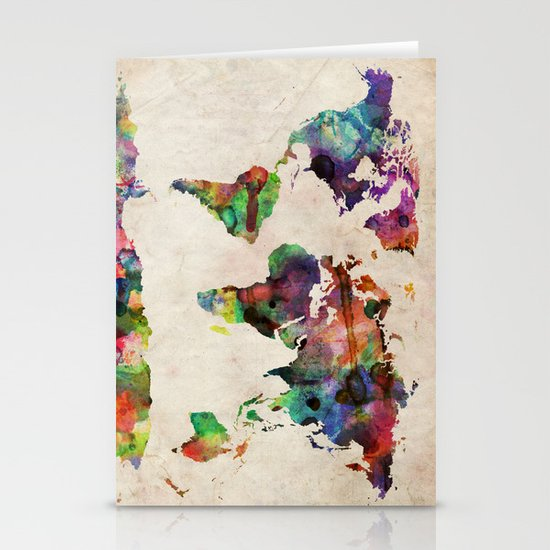 World Map Urban Watercolor Stationery Cards
