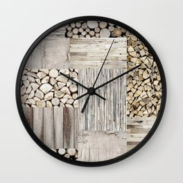 Wood Collage rustic weathered Wall Clock