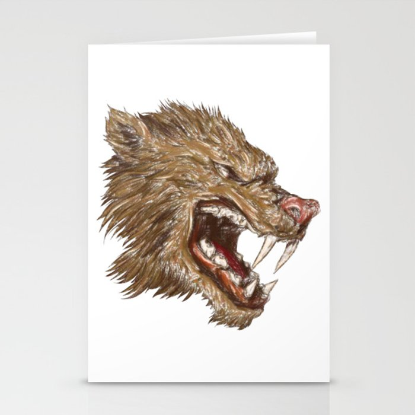 Head with sharp teeth Stationery Cards