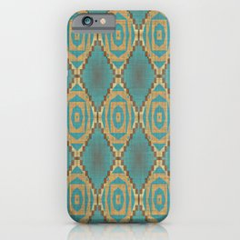 Teal Turquoise Khaki Brown Rustic Mosaic Pattern iPhone Case
