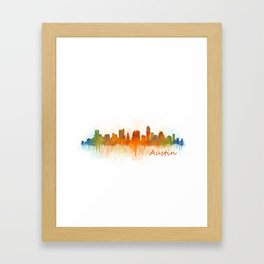 Austin Texas, City Skyline, watercolor  Cityscape Hq v3 Framed Art Print