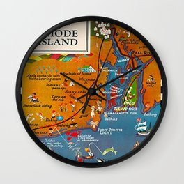 Vintage Romp in Rhode Island Travel Vacation Advertising Poster Wall Clock