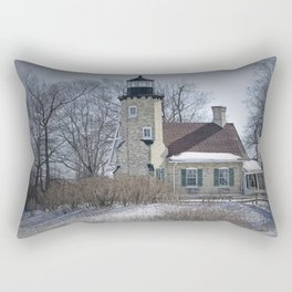 Lighthouse during Winter in Whitehall Michigan Rectangular Pillow