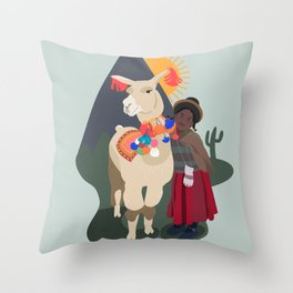 Llama and girl Throw Pillow