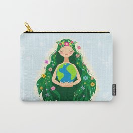 Beautiful Flowing Flower Earth Mother Figure Carry-All Pouch