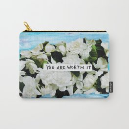 you are worth it floral collage Carry-All Pouch