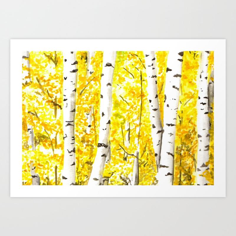 Yellow Aspen Trees Watercolor Art Painting Yellow Birches Wall Hanging Wall Art Art Print