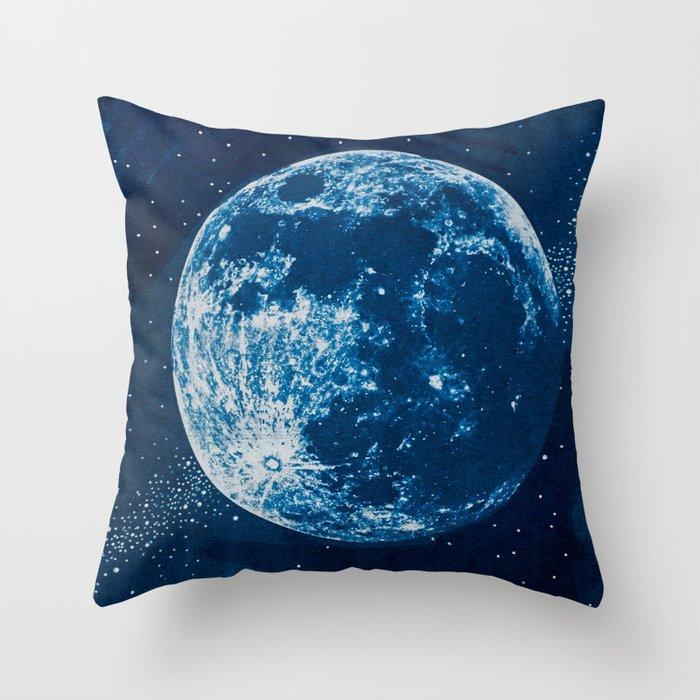 Big Blue Moon Throw Pillow