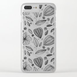 Black and white watercolor flowers Clear iPhone Case