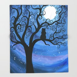 Meowing at the moon - moonlight cat painting Throw Blanket