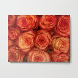 Red color rose flowers pattern Metal Print