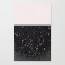 Grey Black Marble Meets Romantic Pink #1 #decor #art #society6 Canvas Print