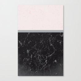 Grey Black Marble Meets Romantic Pink #1 #decor #art #society6 Canvas Print