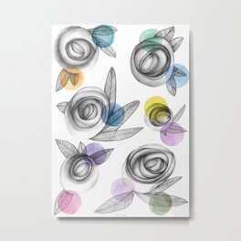 carbon roses and colordots Metal Print