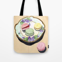 Macarons on an Antique Plate in Gouache Tote Bag