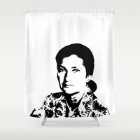 feminism Shower Curtains featuring Simone Veil | Feminism by Rue du chat qui peche