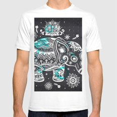 Lucky Elephant Mens Fitted Tee White MEDIUM