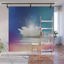 Elegant Gentle  White  Lotus / Lily flower Wall Mural