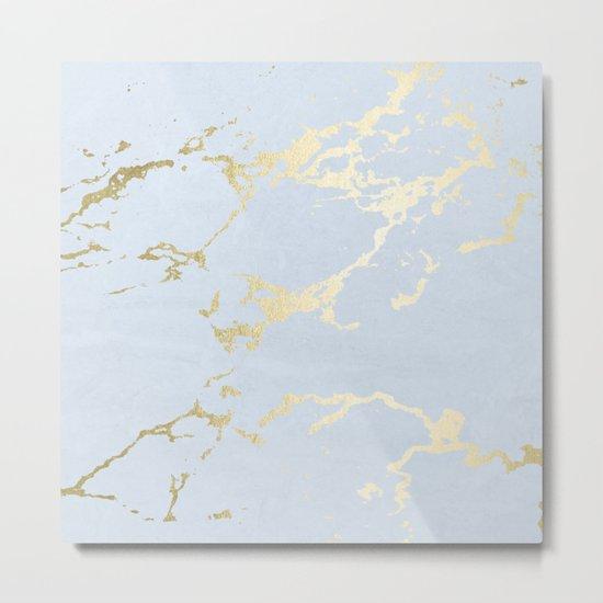 Kintsugi Ceramic Gold on Sky Blue Metal Print