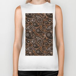 Chocolate Brown Paisley Pattern Biker Tank