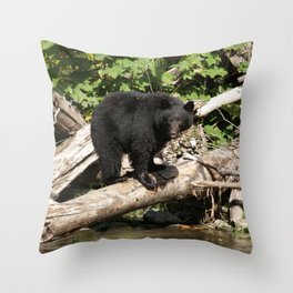 The Fisherman- Black Bear and Stream Throw Pillow