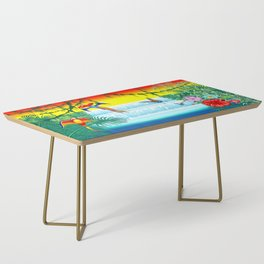 Waterfall Macaws and Butterflies on Exotic Landscape in the Jungle Naif Style Coffee Table