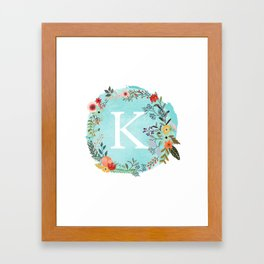 Personalized Monogram Initial Letter K Blue Watercolor Flower Wreath Artwork Framed Art Print