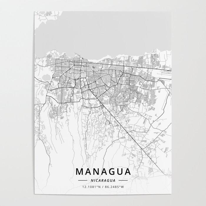 Managua, Nicaragua - Light Map Poster by designermapart