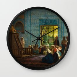 Sermon in the Mosque by Jéan Leon Gerome Wall Clock