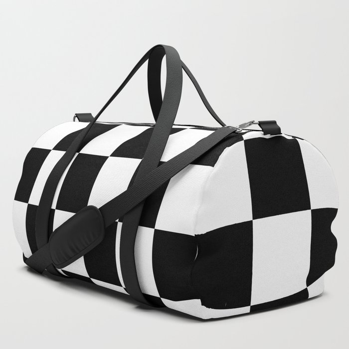 Checkered_Black_&_White_Pattern_Duffle_Bag_by_labluxe__SET_OF_3